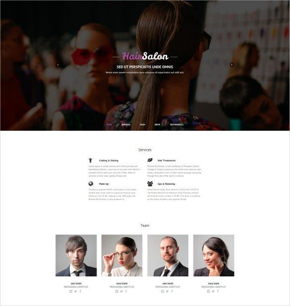 hair salon responsive one page website theme