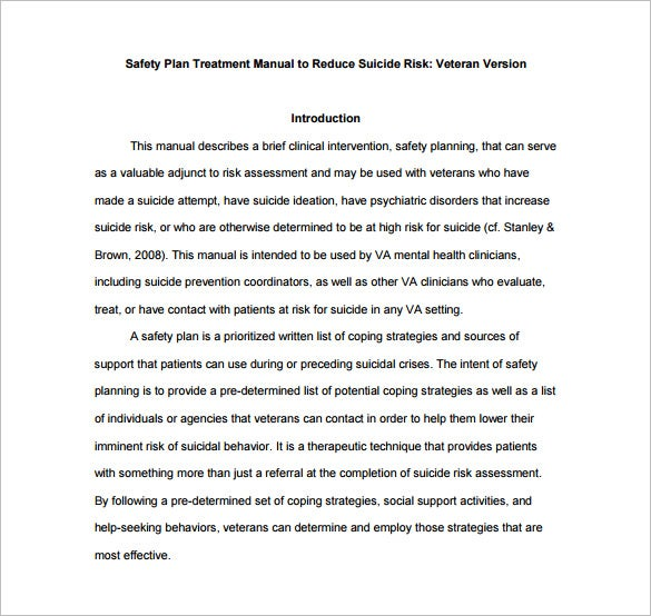 Safety Manual Template Mentalhealth Va Gov Safety Plan Treatment