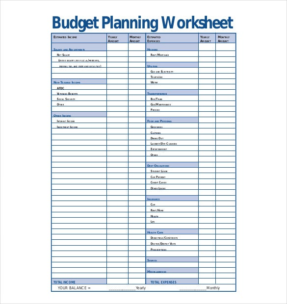 budget planning worksheet template