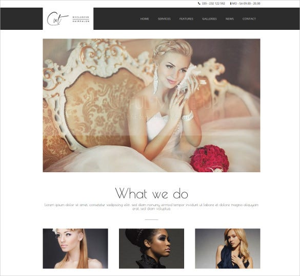 cute hair cut salon wordpress website theme