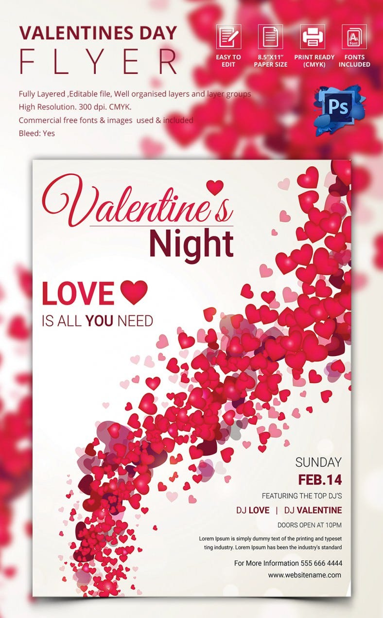 Floral Background Valentine Flyer Template
