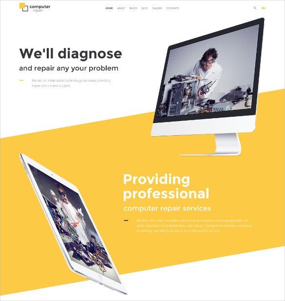 computer repair joomla website template