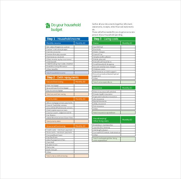 household budget planner pdf