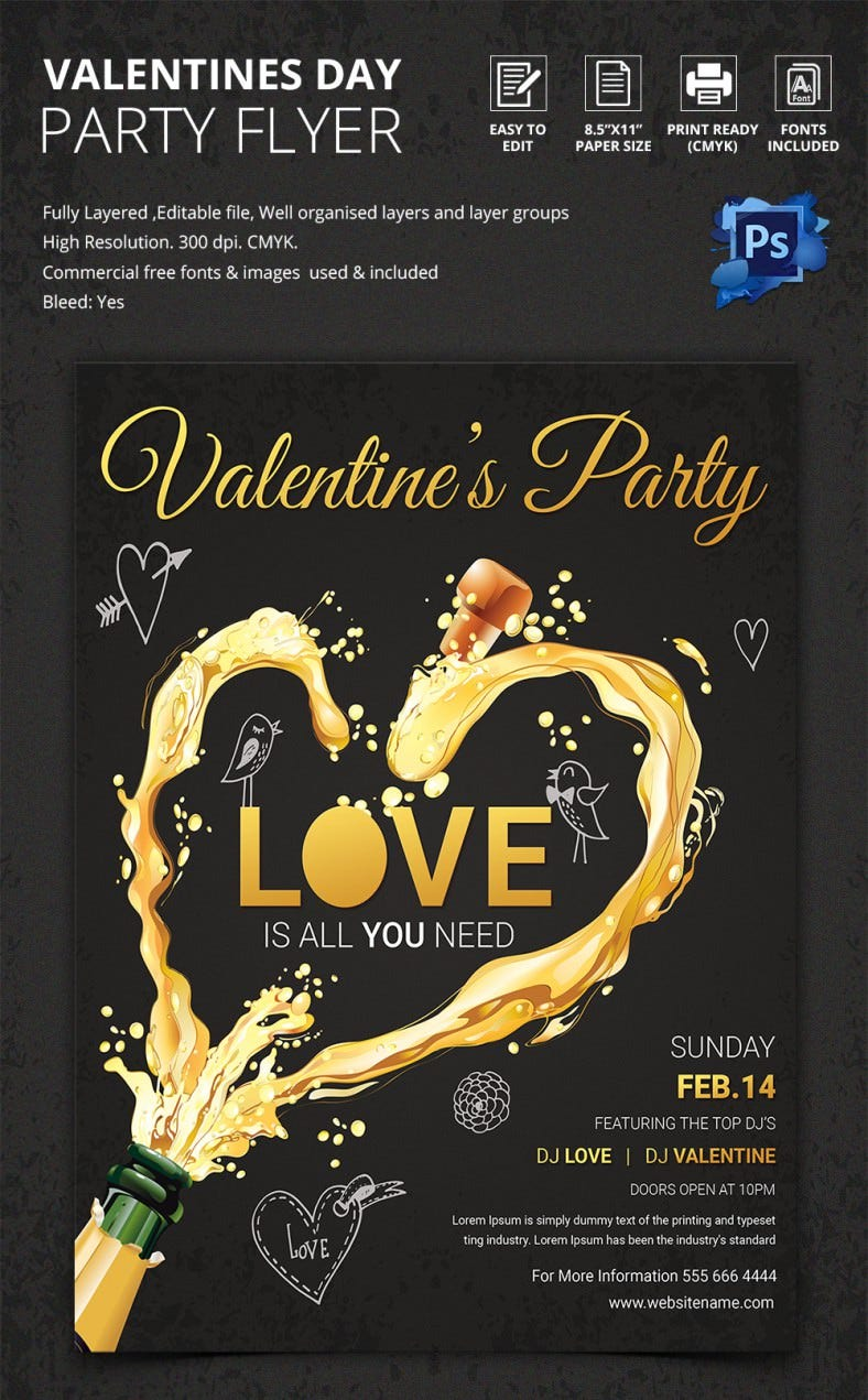 Dark Valentine Night Party Flyer Template