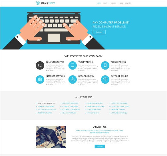 computer fixing services wordpress website template