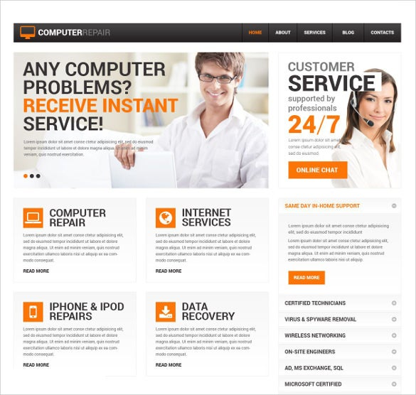 28 computer repair website themes templates free premium