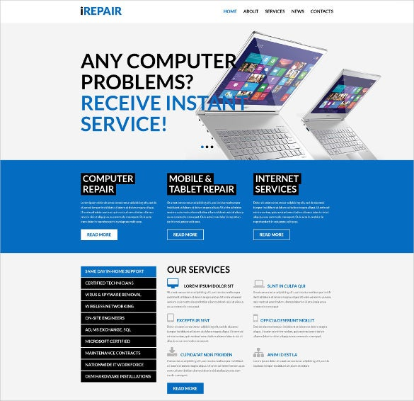 premium computer repair services wordpress webiste theme