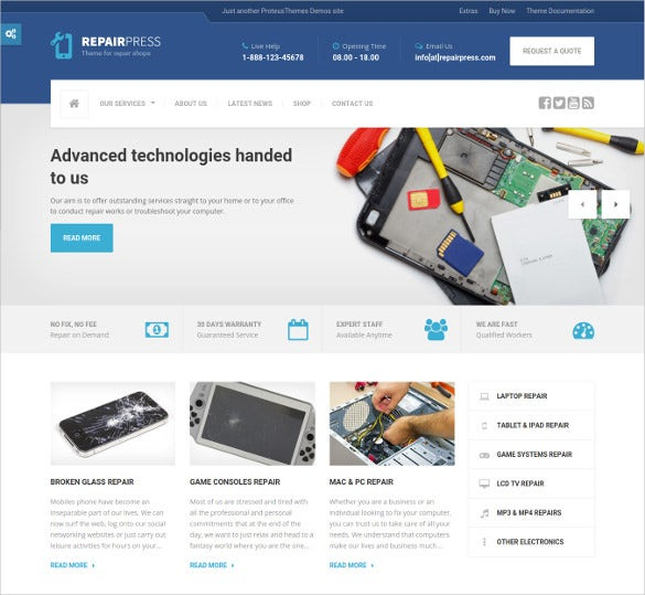 premium multi purpose computer repair website theme