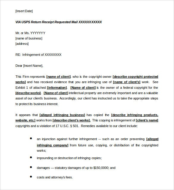 cease and desist letter template copyright word sample