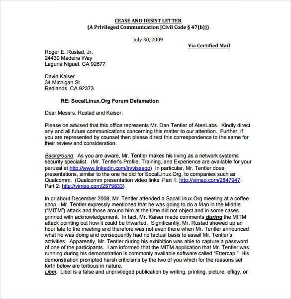 Beautiful Free Cease And Desist Letter Template For Slander PDF Example Pertaining To Cease And Desist Letter Sample
