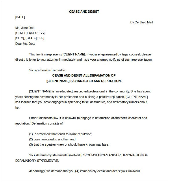 Download Sample Cease And Desist Letter Defamation Template  Letter Of Cease And Desist Template