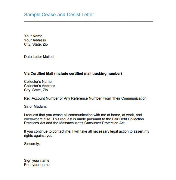 sample cease and desist letter template printable pdf download
