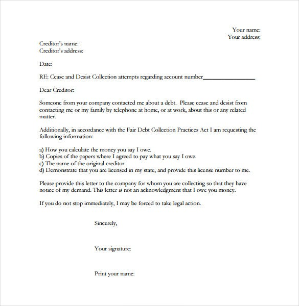 Cease and Desist Letter Template - 16+ Free Sample Example