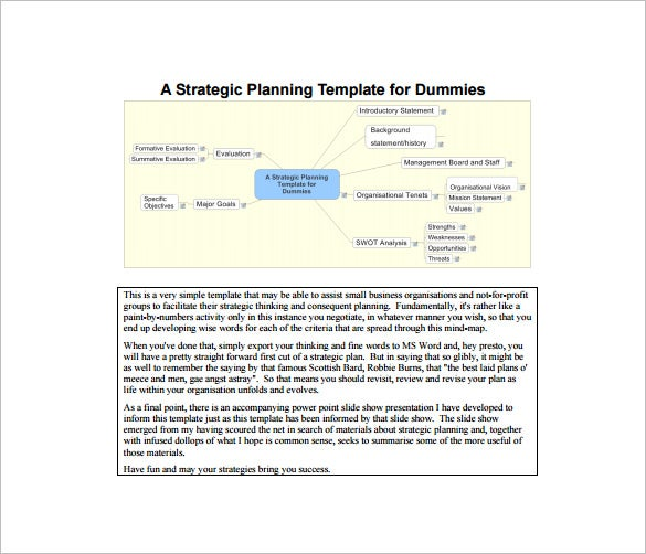 strategic plan template for dummies pdf template free download