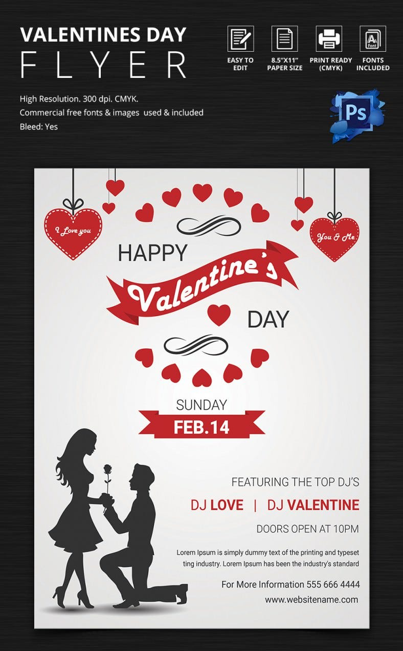 Print Ready Happy Valentines Day Flyer Template