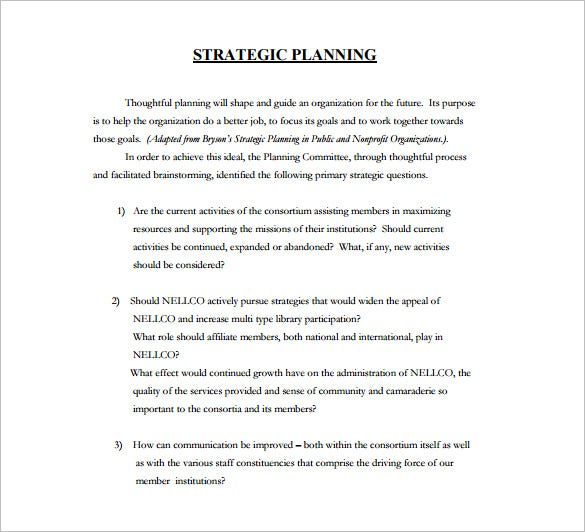 Strategic Plan Template   Free Word Pdf Documents Download