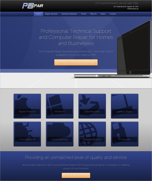 professional computer repair wordpress website theme