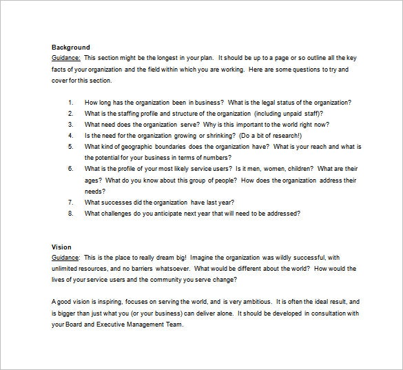 nonprofit business plan template free download