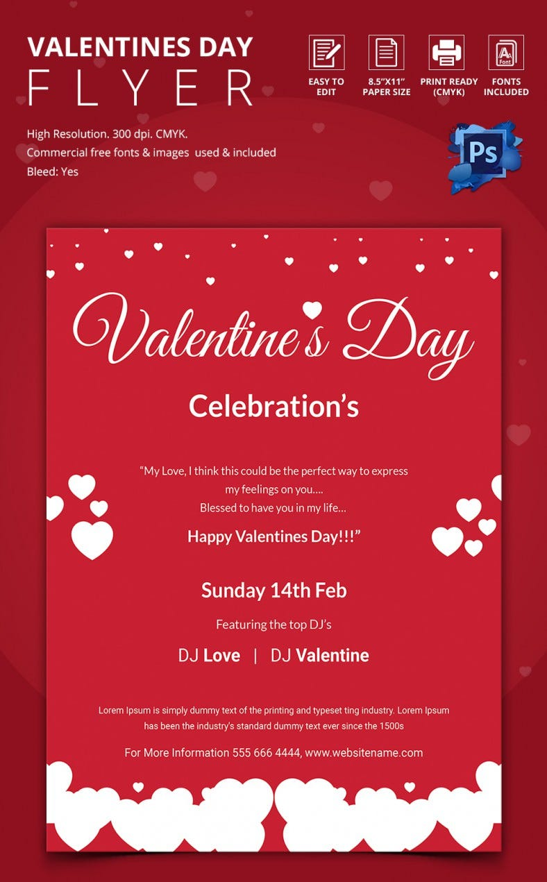 Red Valentine Celebrations Flyer Template