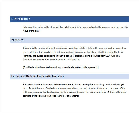enterprise strategic plan free word template download