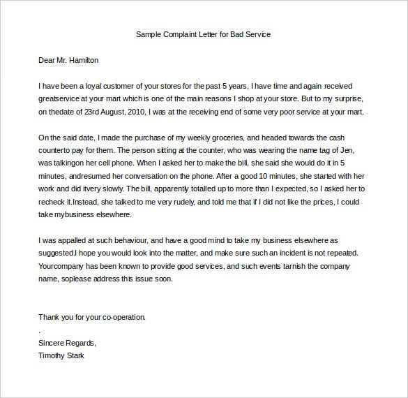 sample complaint letter to service provider for bad service