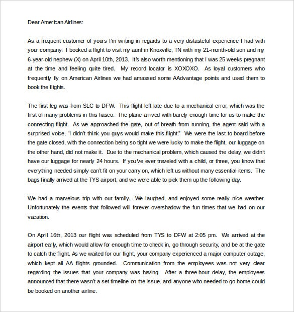 sample complaint letter to airline company word format