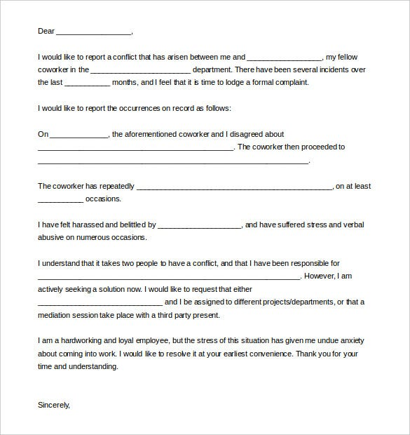 18 complaint letter templates doc pdf free premium templates sample complaint letter against coworker spiritdancerdesigns Gallery