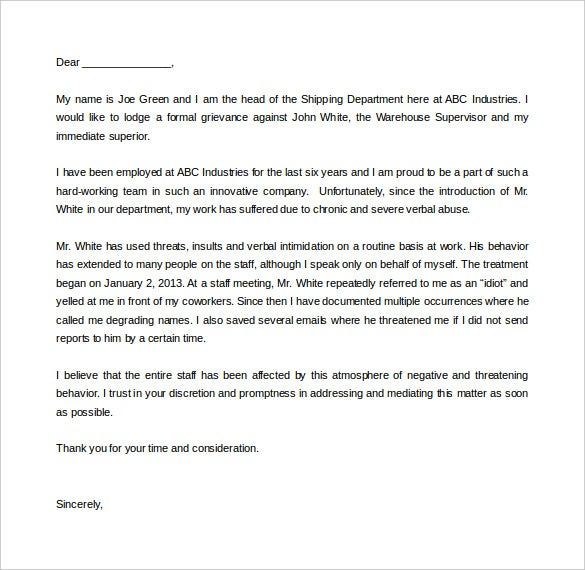 verbal abuse complaint letter template word doc sample
