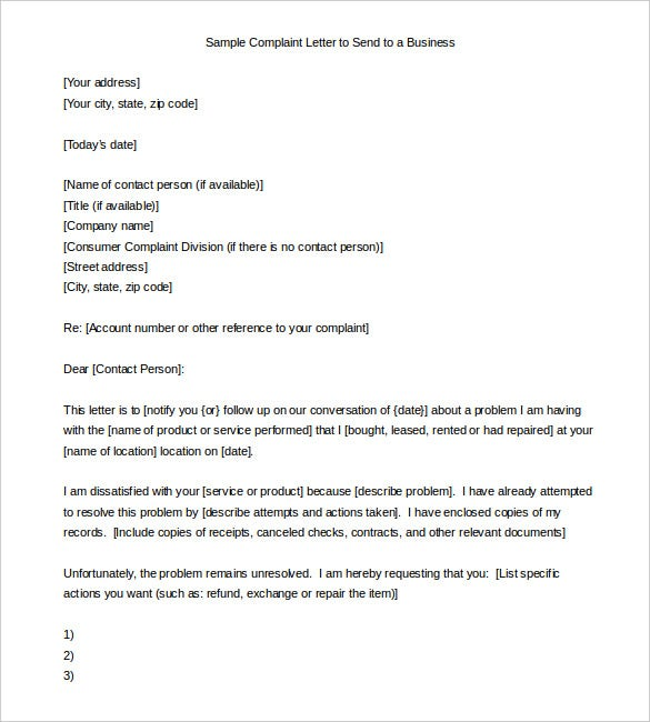 sending a letter to a company 10 complaint letter samples word excel amp pdf templates 24797 | Sample Complaint Letter to Send to a Business Download