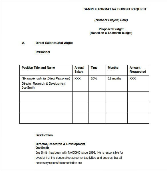 software budget request form word format
