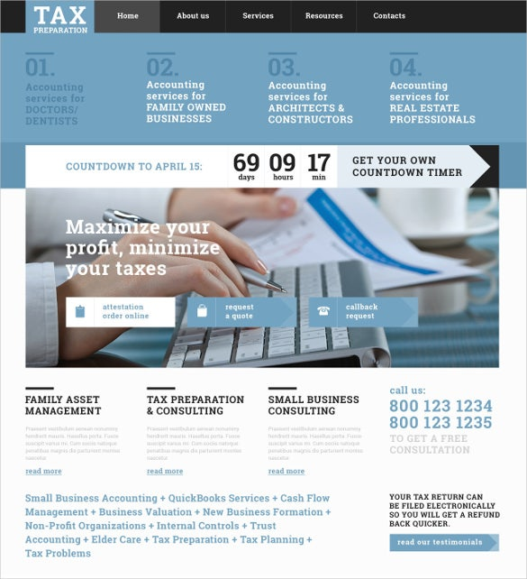 accounting website responsive template
