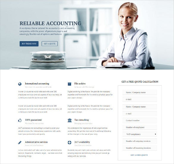 business accounting wordpress website theme