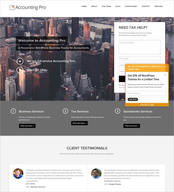 acoounting pro wordpress website template