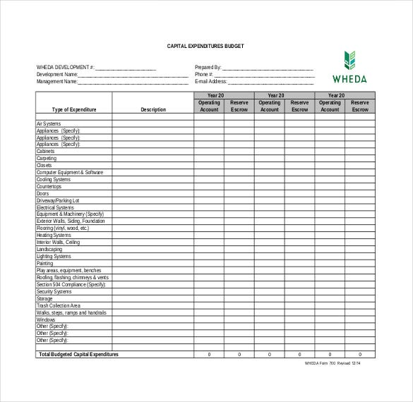 Marvelous Sample Capital Expenditure Budget Template And Expenditure Template