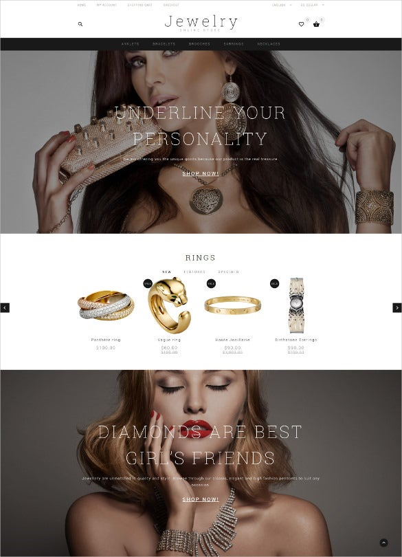 jewelry showcase opencart website template