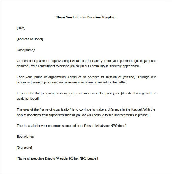 donation thank you letter template for schools word format