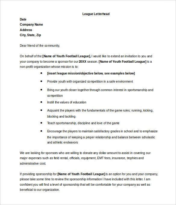 sample sponsorship letter for donations for sports free download