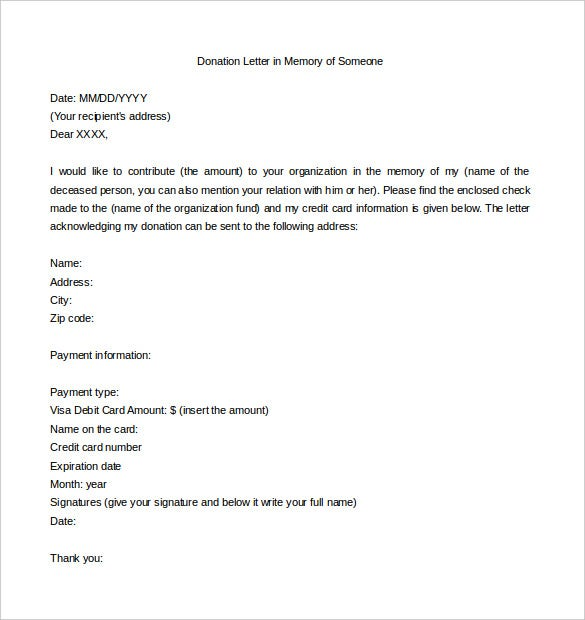 Donation Letter Templates  Free Sample Example Format