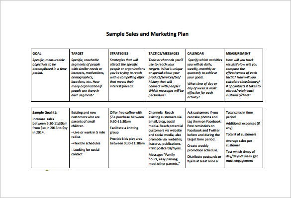 sales and marketing plan free pdf template download