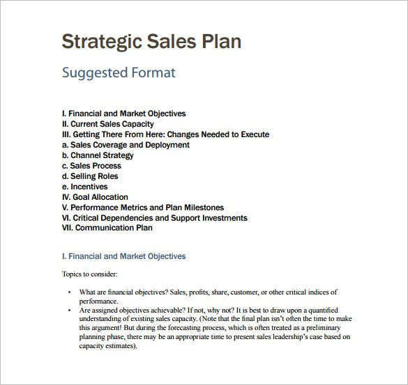 sales business plan template examples
