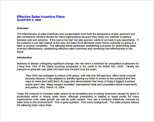 Sample Effective Sales Incentive Plan Free PDF Template Download