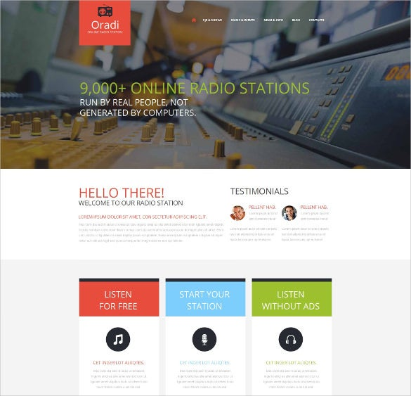 radio website moto cms html template