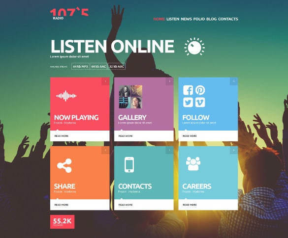 Elegant Online Radio Station Joomla Website Theme 75