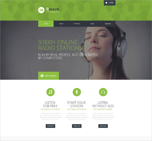 Responsive Radio Station Website Template Free Demo
