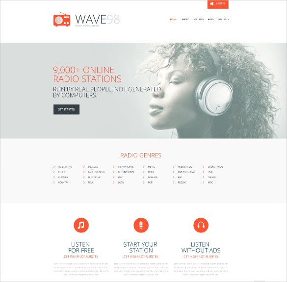 responsive radio media responsive website template
