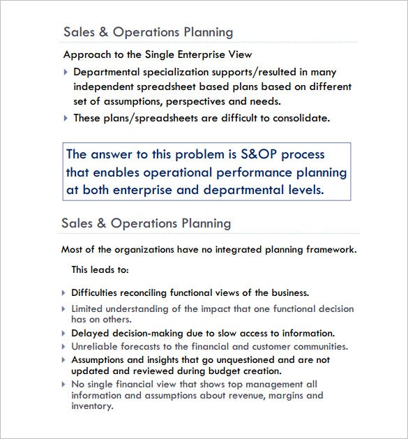 Sales Plan Templates Sales Operations Plan Sample Pdf Template Free
