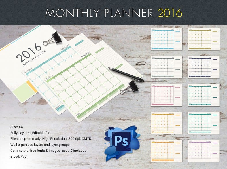 Printable Monthly Planner 2016