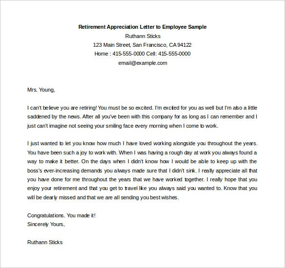 Retirement Appreciation Letter To Employee Sample