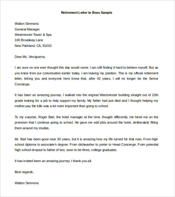 High Quality Retirement Letter To Boss Sample Word Doc Download Regard To Letter Of Retirement