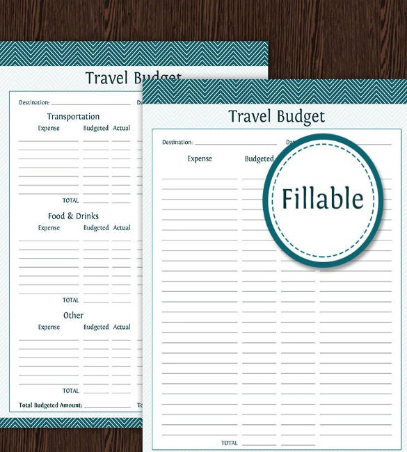 travel budget printable pdf